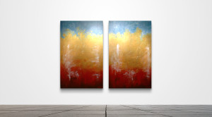 "Ochre Scape 77  /   30"" x 48"" Diptych   /   Acrylic on canvas"