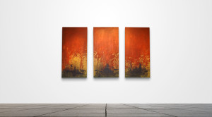"Custom 179  /   18"" x 36"" Triptych   /   Acrylic on canvas"