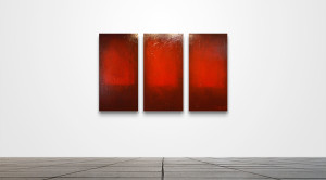 "Abstract 039  /   12"" x 30"" Triptych   /   Acrylic on canvas"