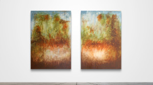 "Landscape with Orange JS44  /   60"" x 84"" Diptych   /   Acrylic on canvas"