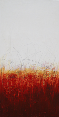 Red yellow and white modern abstract painting with graphite marks by abstract artist Andy Hahn