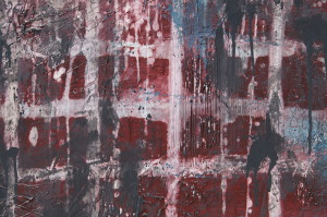 Corruption detail photo, red and blue abstract painting