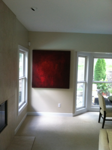 Painting by Andy Hahn installed at collectors home