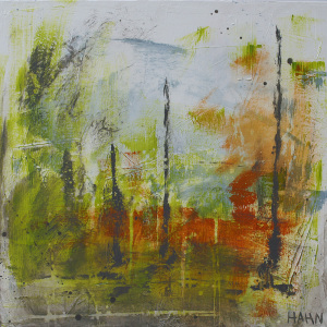 Green, blue and orange modern abstract art 125 Painting by Andy Hahn