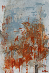 Splatter style abstract painting #128 by Andy Hahn, orange and blue drips