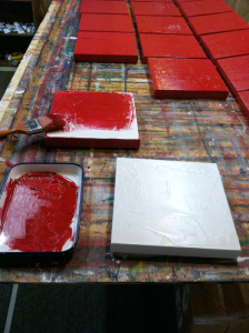 red canvas art progress photo by Andy Hahn
