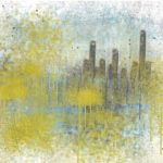Yellow and blue commissioned painting concept for art collector in St. Louis by Andy Hahn