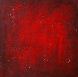 Red painting Abstract 127 by artist Andy Hahn