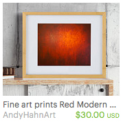 red wall art prints by artist Andy Hahn